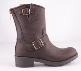 Zipper Biker Boots Brown Gold