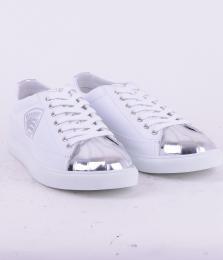 Sneaker Pelle White/Silver