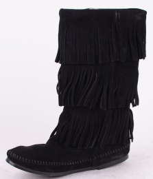 3-Layer Fringe Boot Black