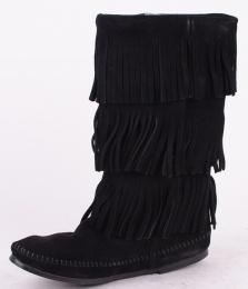 3-Layer Fringe Boot Black