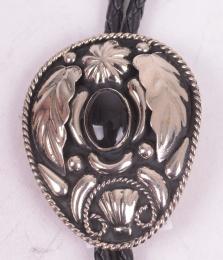 Black Stone Feather Bolo Tie