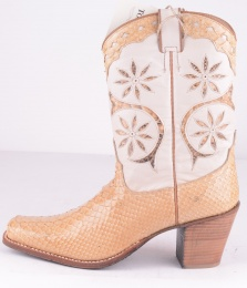 1701 Brown-Beige Python High Heel Boots