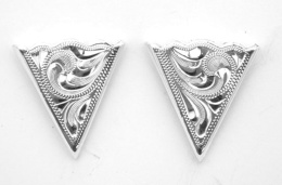 German Silver Engraved Collar Tips