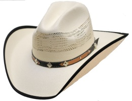 HC-80 Straw Hat - Band with diamond and stars