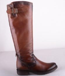 High Zipper Boot Brandy