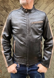 Jake Leather Jacket Black/Grey