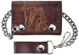 "LW-304 Antique Leather Trifold w/Chain, Horse heads, 4-/4"" x 2-3/4"""