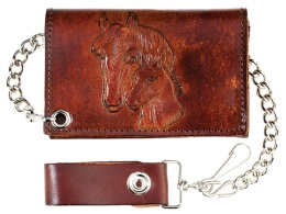 "LW-322 Antique Leather Trifold w/Chain, Horses, 4-3/4"" x 2-3/4"""