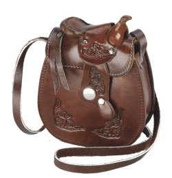 Small Leather Saddle Purse Chocolate 5 x 6 inch