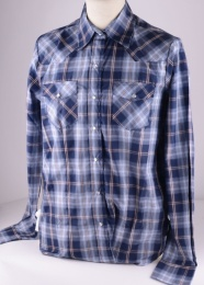 Womens Blue Checked Western Shirt