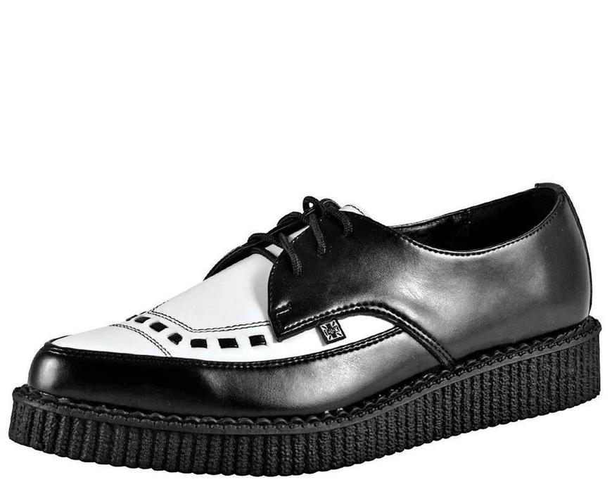 Pointed Creeper Black/White Leather