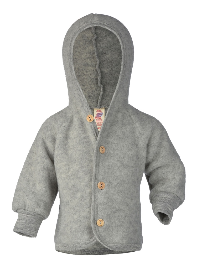 Ull Fleece Hood Grå - Engel