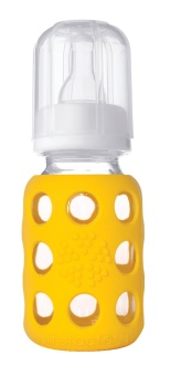 Glass Baby Bottle 120 ml - Yellow - Lifefactory
