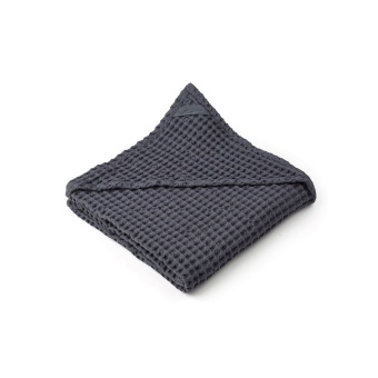 Saga Hooded Towel - Stone Grey - Liewood