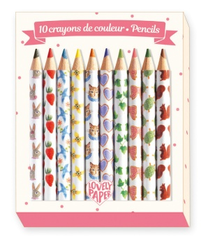 Mini colored pencils - Djeco Lovely Paper