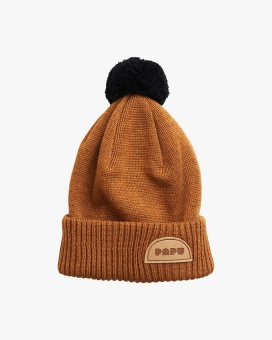 Pom Pom Wool Beanie - Monkey Brown - Papu