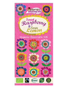 Raspberry & Lemon Chocolate 85g - Ekorrens Ekologiska