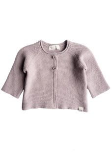 Uni Knitted Cardigan - Greyish Lilac - By Heritage