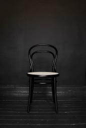 Stol TON No.14 Svartbets/Flätad sits