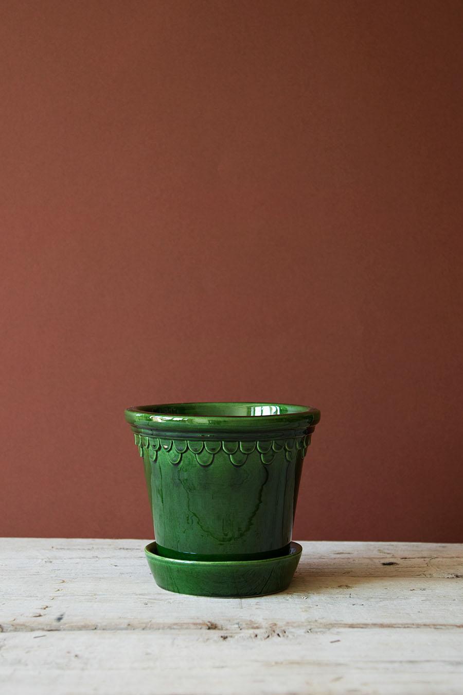 Köpenhamn Kruka Glacerad Grön 16 cm