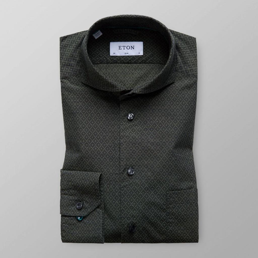 Slim Fit Grönmönstrad Flanellskjorta
