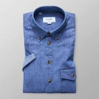 Slim Fit Blå Jeansskjorta Kortärm