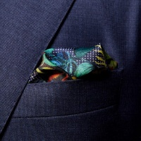 Pocket Square Svartblommig