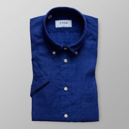 Mörkblå Kortärmad Linneskjorta - Slim