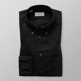 Slim Fit Svart Linneskjorta Button Down