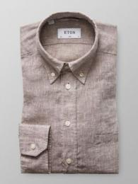 Slim Fit Brun Linne Button Down