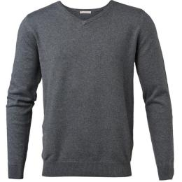 Basic V-Neck Cotton/Cashmere Dark Grey Melange