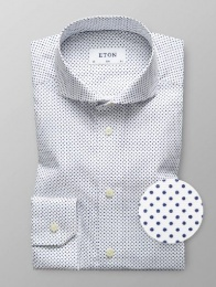 Slim Fit White/Navy Dot