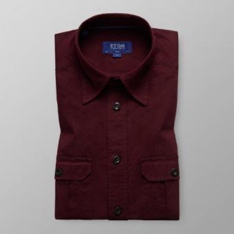 Slim Fit Vinröd Överskjorta