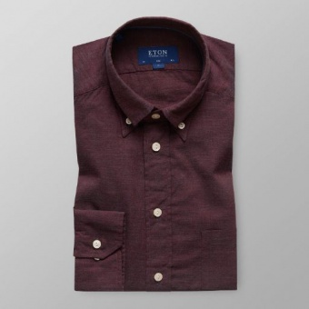 Slim Fit Vinröd Flanell