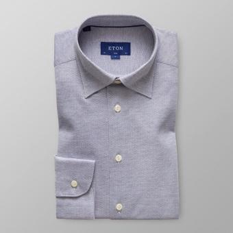 Slim Fit Grå/Blå Pikéskjorta