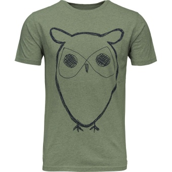 Single Jersey Owl Print Green Melange