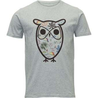 Big Owl Print Grey Melange