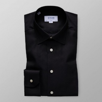 Slim Fit Svart Oxfordskjorta