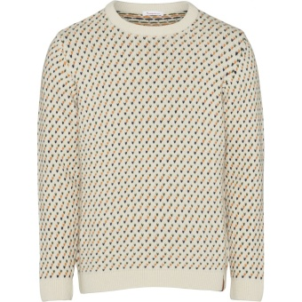 Jacquard O-Neck Knit Winter White
