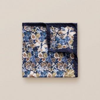 Pocket Square Marinbli/Beige Blommig