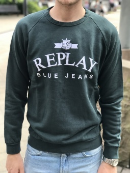 Replay Logo Sweat Dark Green