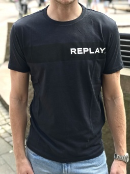 T-Shirt With Replay Writing Navy