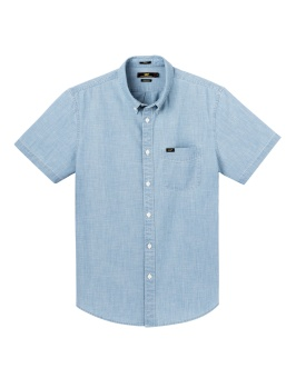 Button Down SS Heather Blue