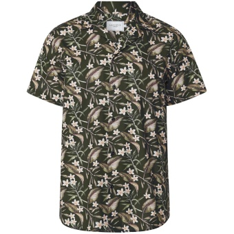 Latif Flower Print SS Shirt Dark Green