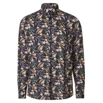 Latif Flower Print Shirt Dark Navy