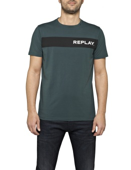 T-Shirt With Replay Writing Dark Green