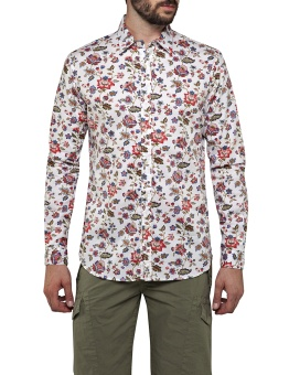Flower Printed Dobby Shirt