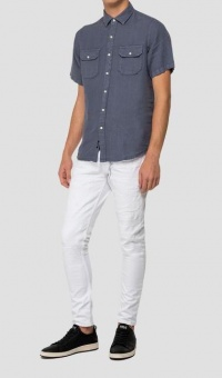 Replay Linen SS Shirt Blue
