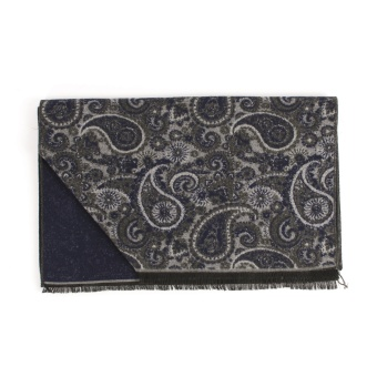 Double Face Paisley Scarf Grey