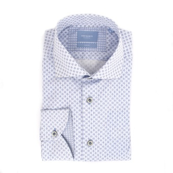 White Shirt With Blue Dots